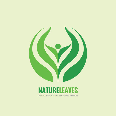 Nature leaves - vector logo concept illustration. Organic logo. Abstract human sign. Vector logo template. Design element. Ilustração
