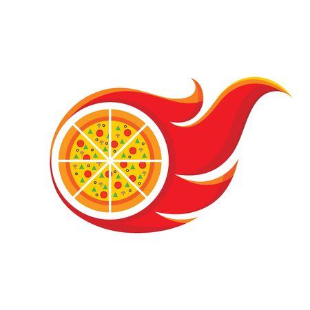 Pizza - vector logo concept illustration. Pizza and fire flame creative vector illustration. Pizza delivery badge label. Design element.
