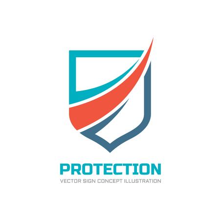 Ochrony - wektor ilustracji koncepcji logo. Streszczenie znak logo tarczy. Element projektu.