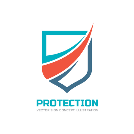 Protección - Vector de la insignia ilustración del concepto. Muestra abstracta logotipo de escudo. elemento de diseño.
