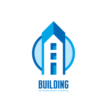 building structure: Building - vector logo creative illustration. Real estate concept sign. Building structure in circle. Design element.