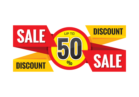 Sale origami vector banner. Discount up to 50% - advertising promotion vector layout.