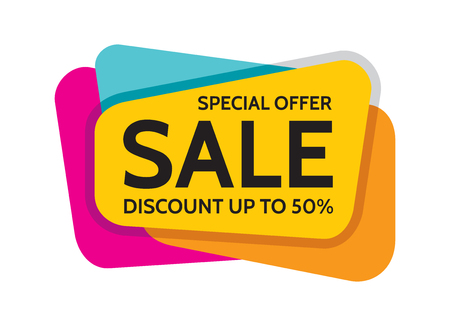 Sale special offer vector banner concept illustration. Discount up to 50% vector layout. Abstract sale banner design element.