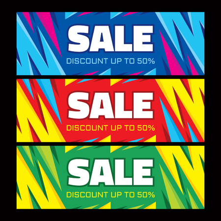 Sale - discount up to 50% - abstract horizontal vector banners set.