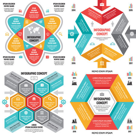 Infographic business concept vector layouts in flat style design for presentation, brochure, website and other creative projects. Infographic design elements. Set of four infographic illustrations.