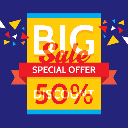 sale sticker: Big sale - vector business banner. Special offer. Discount 50%.