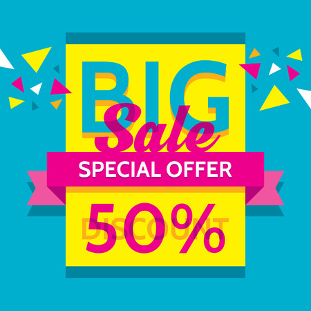 Big sale - vector business banner. Special offer. Discount 50%.