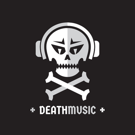 thrash: Death music - vector template concept illustration. Skull with headphones sign. Design element.