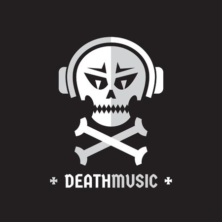 breaks: Death music - vector template concept illustration. Skull with headphones sign. Design element.