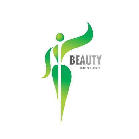beauty of nature: Beauty - vector  template concept illustration. Healthy woman sign. Fitness center sign. Green leaves shapes. Nature ecology symbol.