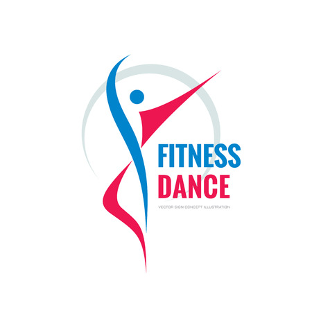fitness dance: Fitness dance - abstract human character - vector   template concept illustration. Creative design element.