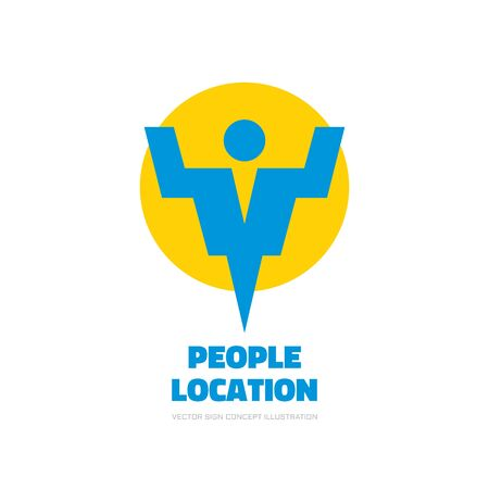 locality: People location - vector  template concept illustration. Abstract human character silhouette sign. Design element.