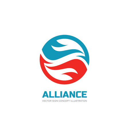 alliance: Alliance - vector  template concept illustration. Abstract shapes in circle. Creative design element.