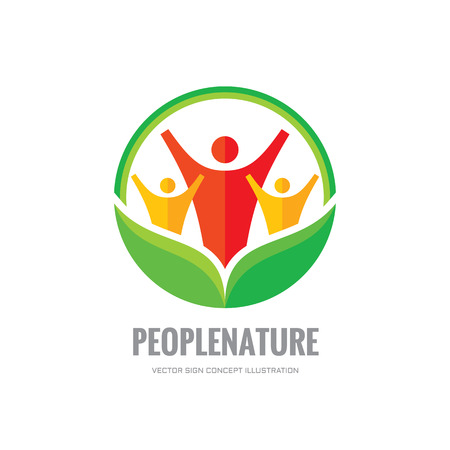 people nature: People nature - vector   template. Abstract human character with green leaves.