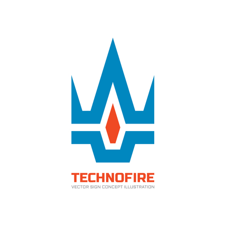 gaz: Techno fire - vector template concept illustration. Creative sign. Design element.