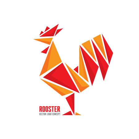 Rooster vector template concept. Bird cock abstract geometric illustration. Hen chicken food. Design element.