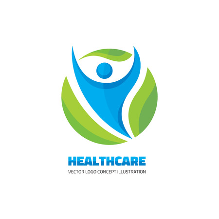 character abstract: Healthcare - vector template concept. Abstract man illustration. Human character. Man and green leaves icon. Healthy symbol. Design element. Illustration