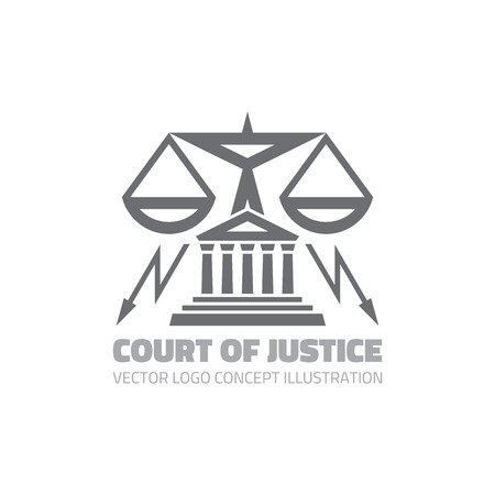 retribution: Court of justice - vector template concept illustration in classic graphic line style. Law legal sign. Scales symbol. Design element.