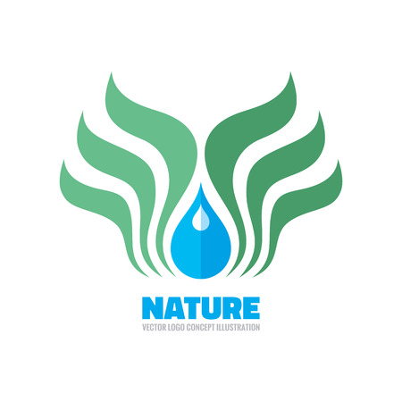 Nature ecology - vector template concept illustration. Leaves and drop sign. Bio organic product symbol. Design element. Illustration