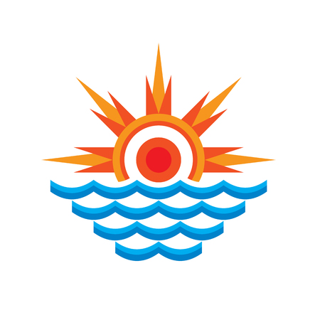 San & sea - vector template concept illustration. Rays and wave water. Travel symbol. Summer vacation sign. Design element.
