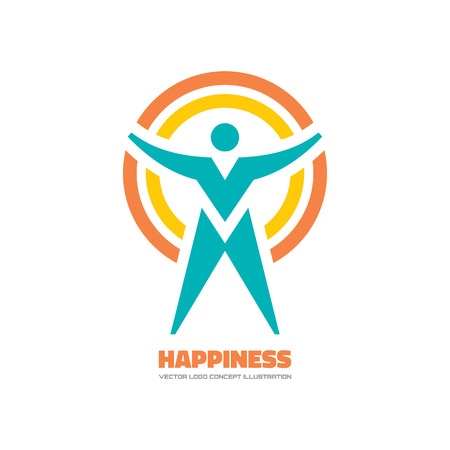 happiness people: Happiness - vector template concept illustration. Human character sign. People icon. Man figure symbol. Design element. Illustration