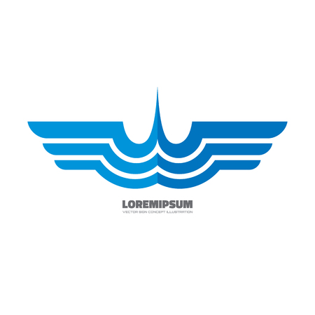 delivered: Blue wings - vector template creative illustration. Airplane sign. Aircraft transport symbol. Delivery concept. Geometric wings. Design element.