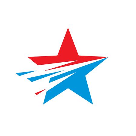 Star - vector template concept illustration. USA sign. Design element. Explosion. Flight motion.