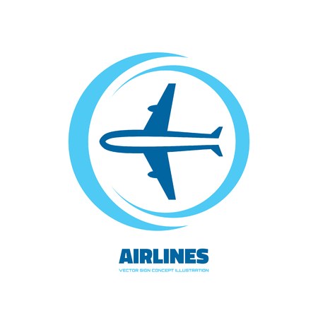 airlines: Airlines - vector concept. Aircraft illustration. Tickets company. Minimal classic style. Airplane silhouette sign for transportation and travel company. Travel agency.