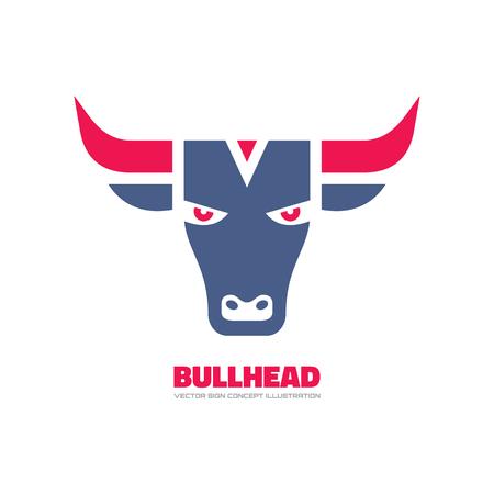 endurance: Bull head - vector template concept illustration. Buffalo graphic sign. Taurus symbol. Design element. Illustration
