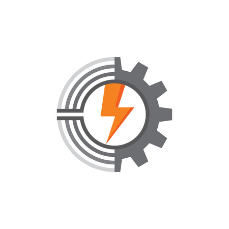 gear symbol: Gear, lines and lightning - vector template concept illustration. Factory sign. Technology symbol. Mechanical icon. Design element. Illustration