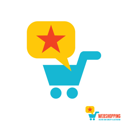 web store: Web shopping - vector template concept illustration. Basket cart, bubble and star sign. Shop store icon. Design element.