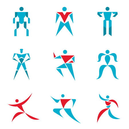 character abstract: People signs - creative vector template collection. Abstract figures - icons set. Human character collection. Design elements. Illustration