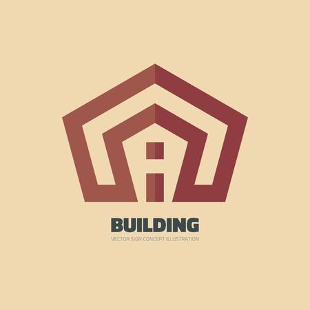building estate: Building - vector template concept illustration. Real estate sign. Home. House symbol. Design element. Illustration