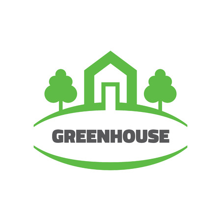 building estate: Green house - vector template concept illustration. Home building sign. Ecology nature icon. Real estate. Design element.