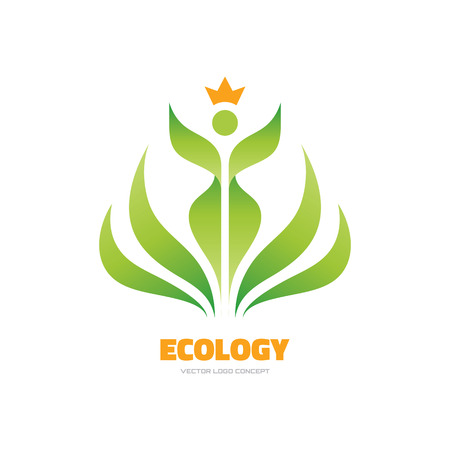 produits céréaliers: Ecology - vector template concept illustration. Leaves woman sign. Bio nature sprout symbol. Agriculture organic product icon. Human character. Design element.