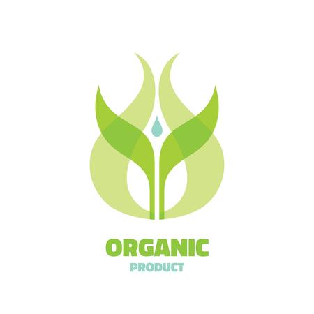 produits céréaliers: Organique - concept de modèle illustration vectorielle. Ecologie laisse signe. Symbole Bio nature. icône Agriculture. Sprout et goutte d'eau. élément de conception.