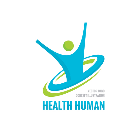 freedom icon: Health human character - vector template. Sport fitness concept illustration. Creative sign. Happiness freedom icon. Design element. Illustration