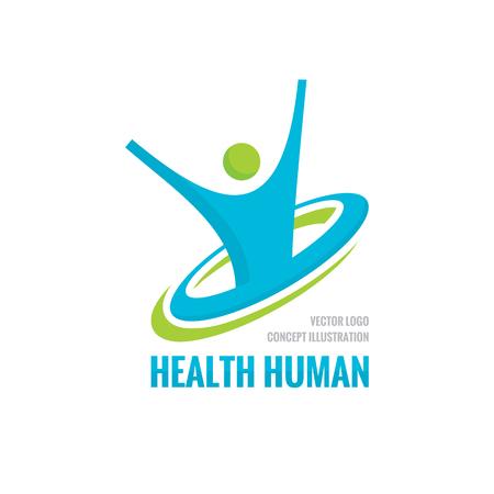Caractère humain de santé - modèle de vecteur. Illustration de concept de remise en forme sport Signe créatif Icône de liberté de bonheur. Élément de conception.