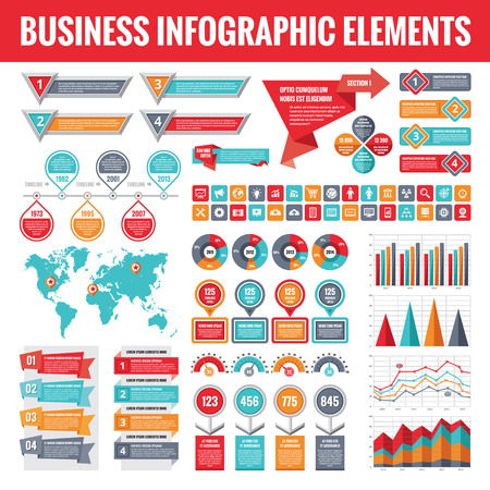 Big set of business infographic elements for presentation, brochure, web site and other projects. Abstract infographics templates in flat style design. Vector concept illustration and icons. Imagens - 64270469