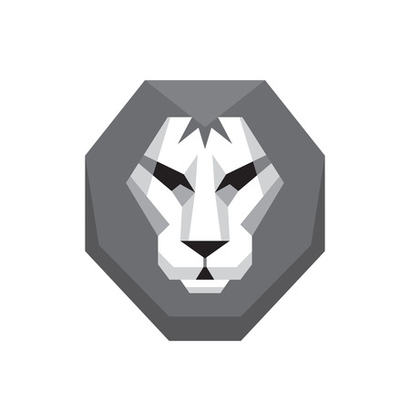 graphic art: Lion head - vector sign concept illustration in flat style design in grayscale colors. Wild cat graphic art. Design element. Illustration