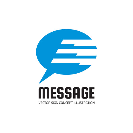 internet symbol: Message - vector template concept illustration. Internet chat abstract sign. Speech bubble symbol. Design element.