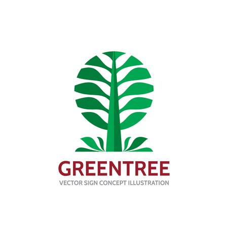 alder: Green tree - vector template concept illustration in flat style. Landscape forest creative sign. Nature symbol. Design element.