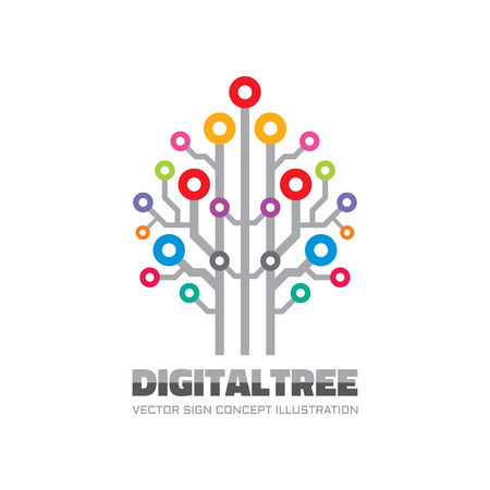 cloud icon: Digital tree - vector template concept illustration in flat style. Computer network technology sign. Electronic design element.