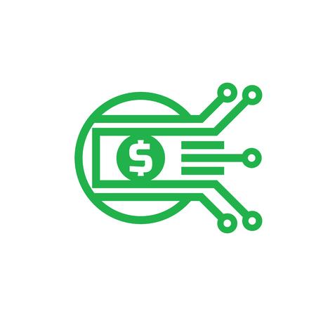 Digital money dollar - vector logo template illustration. Currency - creative sign. Design element.