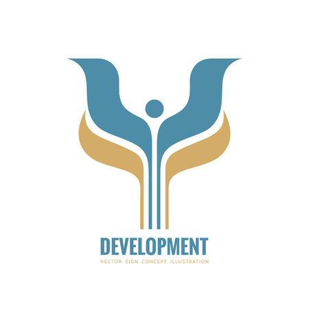 Development - vector logo template concept illustration. Abstract stylized human with wings and leaves creative sign. Design element. Ilustração