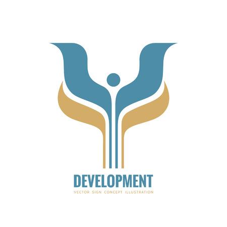 Ontwikkeling - vector logo sjabloon concept illustratie. Abstracte gestileerde mens met vleugels en laat creatief teken. Ontwerpelement.