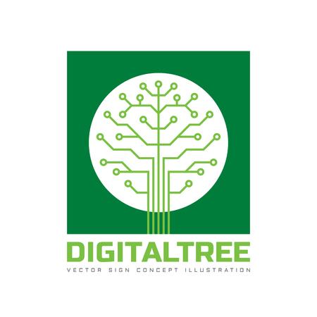 tecnología informatica: plantilla de ilustración del concepto de estilo plano - Árbol digital. Red de ordenadores signo de la tecnología. elemento de diseño electrónico. Vectores
