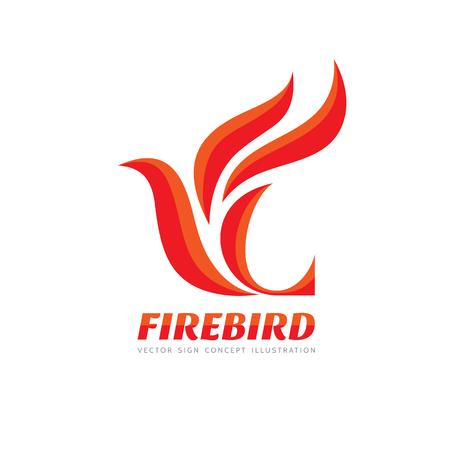 fire symbol: Fire Bird - template concept illustration. Abstract flame creative sign. Phoenix mytphology symbol. Design element. Illustration