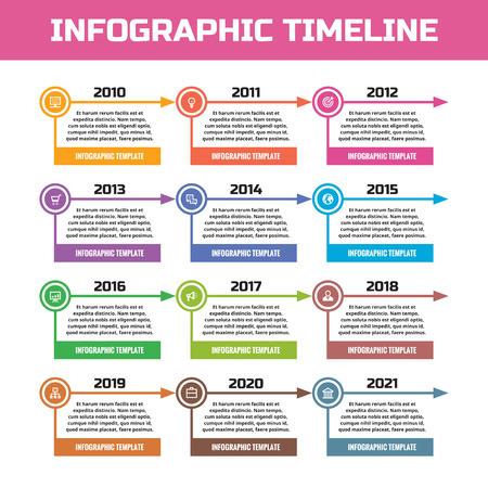 Negocios infografía concepto - línea de tiempo para la presentación, folleto, página web y otros proyectos creativos. Modelo del vector. Elementos de diseño. Sistema de banners horizontales.