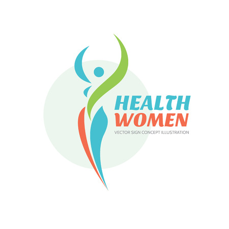 health and fitness: Health women - vector logo template. Healthy sign. Beauty salon symbol. Fitness woman concept illustration. Human character in leaves shapes. Leaf insignia. Nature ecology. Illustration